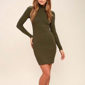 Lulu's Olive Green Ribbed Dress